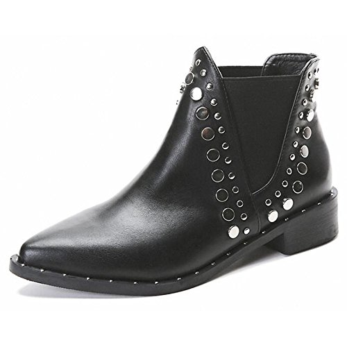 Black US6   EU36   UK4   CN36 Black US6   EU36   UK4   CN36 HSXZ Women's shoes Synthetic Microfiber PU Spring Fall Comfort Fashion Boots Boots Walking shoes Chunky Heel Pointed Toe Booties Ankle Boots