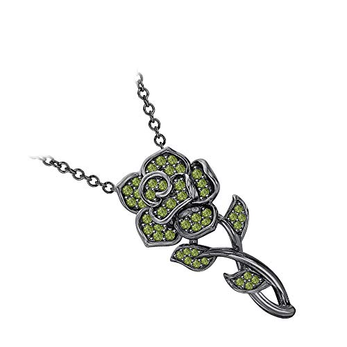 RUDRAFASHION Beautiful Rose Floral Pendant Necklace Green Tourmaline 14k Black Gold Over .925 Sterling Silver for Womens