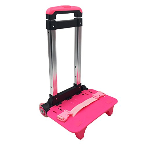 GudeHome Trolley Hand Aluminium Alloy Folding Wheeled Trolley Cart for Backpack (Pink, 2 - Wheeled Pink Backpacks
