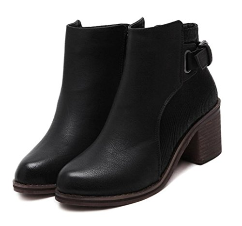 Artificial Nueva Chunky Linyi De Ronda Heel Lateral Cremallera Wild Pu Boots Simple Black SAdR8wZq