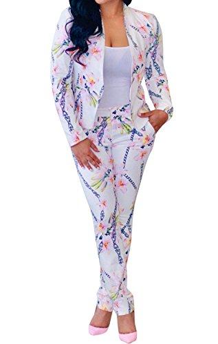 fc8fd29cf8 Nulibenna Women s Floral Print 2 Pieces Front Open Blazer Long Pant Set  Tracksuit Outfit