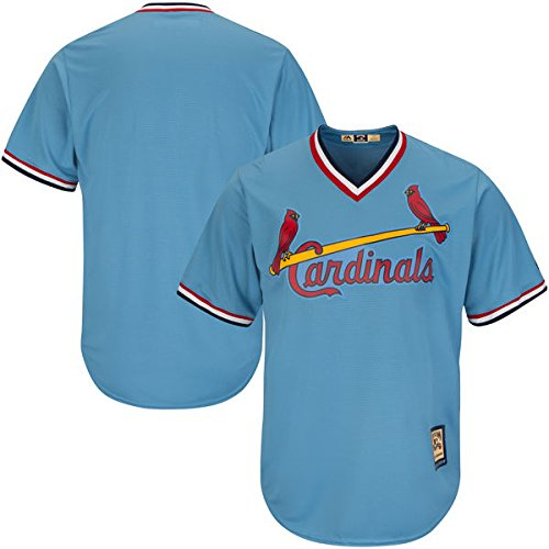 St. Louis Cardinals MLB Men's Cool Base Road Cooperstown Pullover Jersey Blue (XLT)