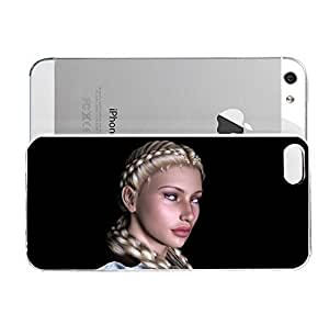Janmaons iPhone 5/5s Case - Digital Art Blonde Braids rS2pT Case for iPhone