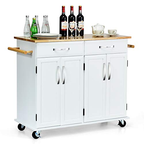 lunanice Furniture Home Office Restaurant Hotel Bar Pub Kitchen Trolley Island Utility Cart Wood Top Rolling Storage Cabinet Drawers Table Organizer Size 48.5