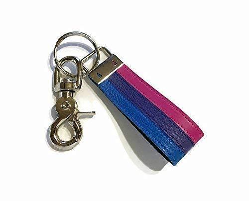 Amazon.com  Bisexual pride leather keychain bi pride key chain.  Handmade 9baaaff6427b