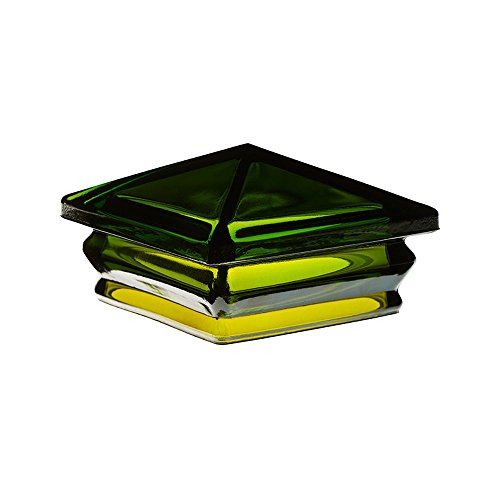 Woodway Glass Post Cap 6 x 6 - Outdoor Pyramid Post Cap for Garden, Deck and Patio, Green, 1 PC