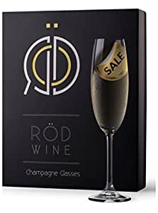Champagne Flutes Glasses - Lead Free Crystal - Best Gift Glassware Collection by RÖD Wine (7.5-Ounce, Set of 3)