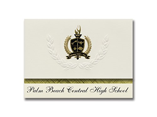 Signature Announcements Palm Beach Central High School (Wellington, FL) Graduation Announcements, Presidential style, Basic package of 25 with Gold & Black Metallic Foil - Beach Wellington