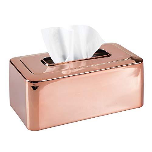 mDesign Modern Metal Tissue Box Cover for Disposable Paper Facial Tissues, Rectangular Holder for Storage on Bathroom Vanity, Countertop, Bedroom Dresser, Night Stand, Desk, Table - Rose Gold -