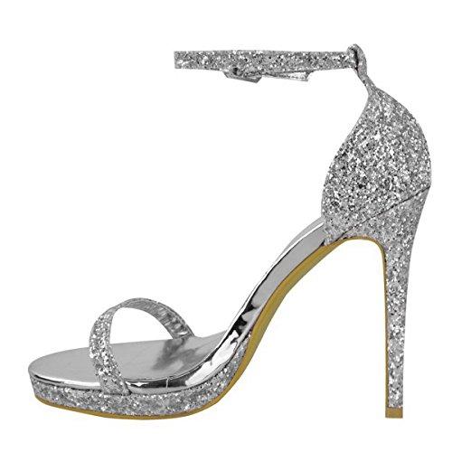 Sandaalit Nilkkalenkki Piikkikorko Uusi Hopeaglitteriä Solki Koko Naisten Osapuoli Korkea Kengät Naisten Alustan Iltana EZwwp8q