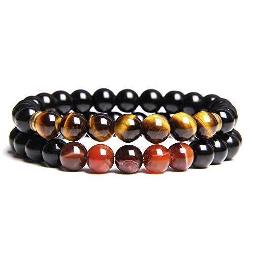 ADGJL Stone Bracelet Women,7 Chakra Natural Tiger Eye Stone Bead Bangle Elastic Obsidian Bracelet Yoga Fashion Couple…