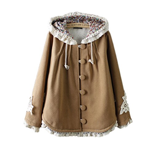 Lace Hooded (Aza Boutique Girl's Cute Lace Trim Tweed Loose Hooded Cape)