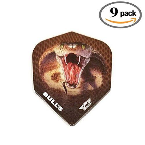 9 Pack Bulls Powerflite King Cobra Snake Serpent 100 Micron Extra Strong Dart Flights