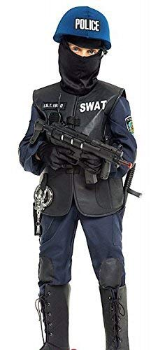 Italian Made Boys Deluxe SWAT Police Halloween Carnival Fancy Dress Costume Outfit 3-12 Years (3 Years)