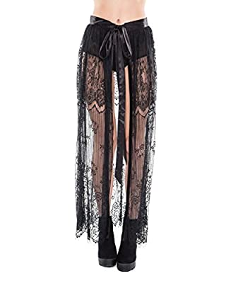 iHeartRaves Queen of The Night Floral Lace Long Maxi Skirt with Front Ties