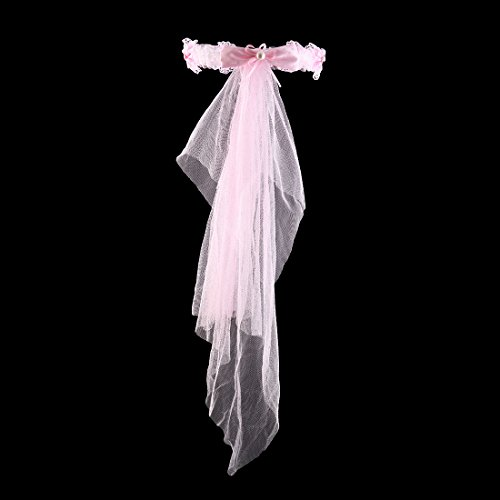Uxcell Strass Faux Femmes Nylon Mariée Bandeau Incrusté Léger Voile De Cheveux Cerceau Coiffe Rose