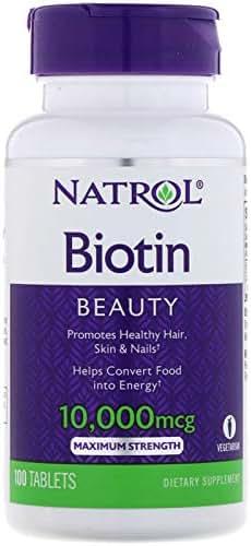 Biotin Vitamin B7 Skin Hair Nails Health 10000 mcg 100 Tablets