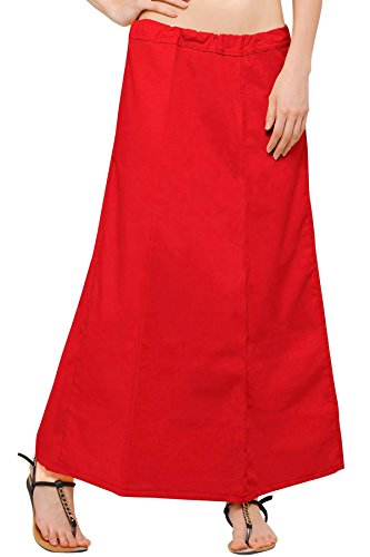 Chandrakala Women's Readymade Cotton Floor Length Free Size Petticoat Underskirt Slips for Indian Sarees(P104RED4) by Chandrakala