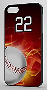 Flaming Baseball Sports Fan Player Number 22 Black Rubber Decorative iPhone 6 PLUS Case