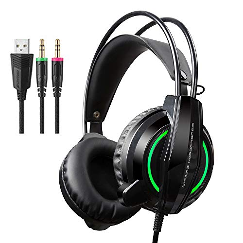 TAOXUE Gaming Headset for PS4 PC, Wired Headphones with Microphone LED Light Noise Cancelling, Compatible with PC Games…