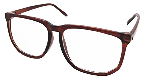 FancyG Retro Vintage Inspired Classic Nerd Square Clear Lens Glasses Frame - Brown