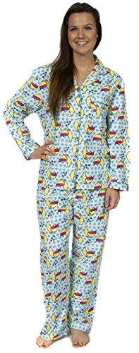 Leisureland Women's Cotton Flannel Pajama Set Sleepy Kitty Cat Blue XL (Blue Cat Pajamas)