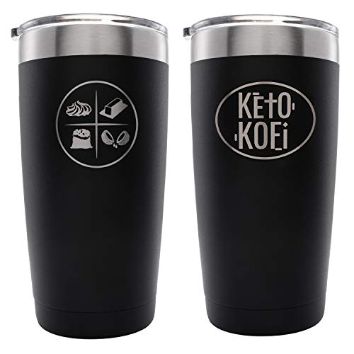 Keto Kofi Travel Tumbler Drink Coffee Cup (20 oz.) Double-Wall, Vacuum Insulated Stainless Steel | Slide Top Lids, Straw Friendly | Retains Hot & Cold Temperatures | Gym and Diet
