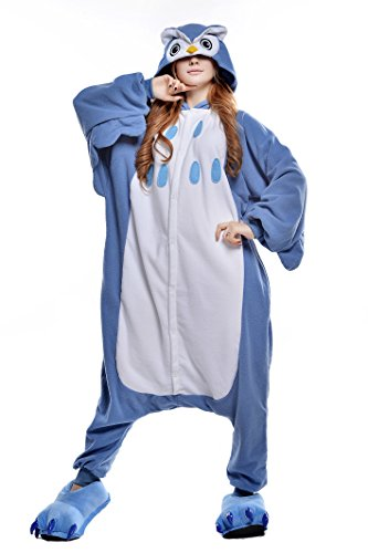 CANASOUR Polar Fleece Christmas Adult Anime Unisex Cosplay Onesie (Medium, Blue Owl)