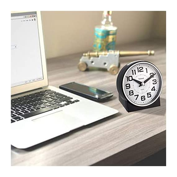 """Tinload 4"""" Silent Analog Alarm Clock Non Ticking, Gentle Wake, Beep Sounds, Increasing Volume, Battery Operated Snooze and Light Functions, Easy Set (Black) - Unique Simple Retro Styling-- Alarm clock stands up at an angle, high quality plastic, round face with white dial, black Arabic numerals, good decoration for tabletop, desk & shelf, bedrooms. Completely Silent-- Super quiet concise design alarm clock without annoying tick tock sound, ideal for those who need complete silence to fall asleep. Snooze and Light Function-- Snooze and light button locates on easy-to-find top place. Hold button down for 5 minutes snooze or to light up the clock face.The light will light up for 6 seconds and then shut down Automatically ,very easy to see time at night. - clocks, bedroom-decor, bedroom - 41 0ZBJJPjL. SS570  -"""