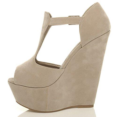 Damen Hohe Keilabsatz T-Riemen Peep Toe Schuhe Plateau-Sandalen Größe Beige