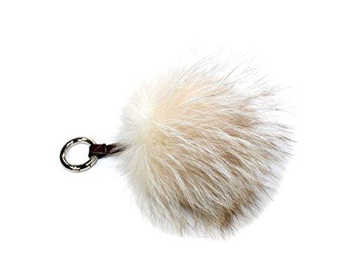 (810917 New Light Beige Fox Fur Pom Keychain Accessory Attachment Chain )