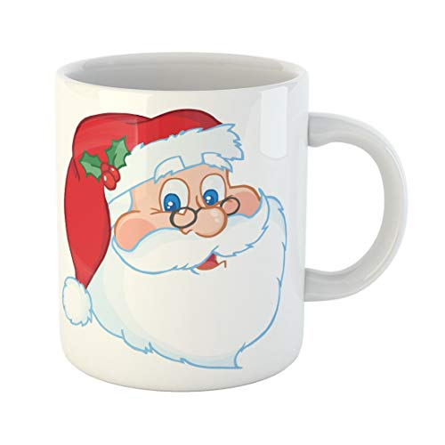 Tarolo 11 Oz Mug Coffee Mug Ceramic Tea Cup Red Face Classic Santa Claus Head Funny Clipart Holiday Images Christmas Large C-handle Family and Office Gift