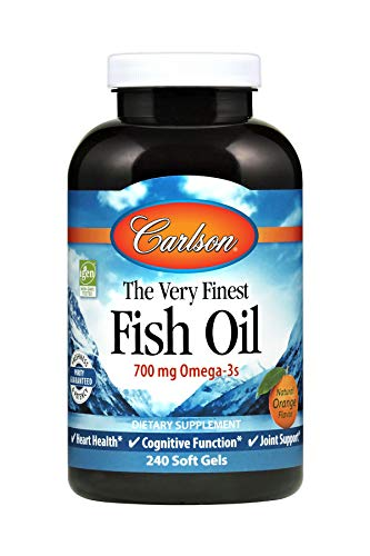 Carlson - The Very Finest Fish Oil, 700 mg Omega-3s, Norwegian, Sustainably Sourced, Orange, 240 soft - 240 Softgels Oil