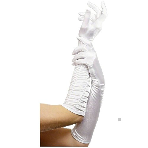 Wicked White Rabbit Adult Mask (Long Gloves for Women Elbow Length Ruched Adult Formal Wear Accessory)