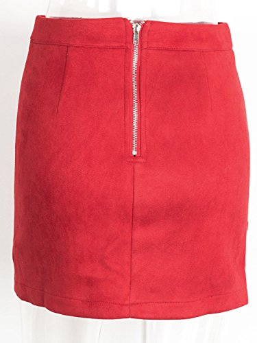 Women Skirt Suede Short Waist Bodycon Mini Faux s High Simplee Red Apparel wUC5q7xZ