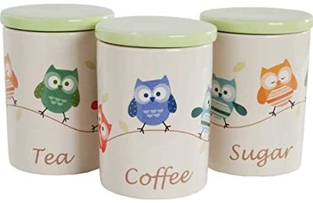 Set of 3 Ceramic Owl Storage Jars with Microfibre HSB Cleaning