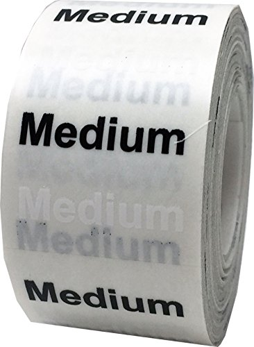 "InStockLabels Medium Clothing Size Strip Labels 1.25 x 5"" 125 Adhesive Stickers, Clear with Black and White Ink"