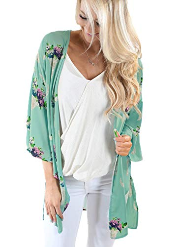 Women Fashion Summer Half Sleeve Tops Relaxed Flower Printed Casual Blouse Kimono Cardigan Light Green Small