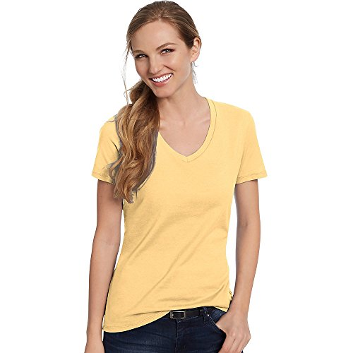 Hanes by Women's Nano-T V-Neck T-Shirt_Vintage Gold_L (Womens Short V-neck Hanes)