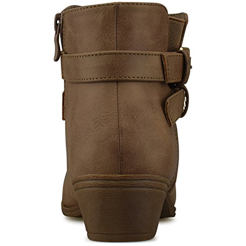 Toe Khaki Low Closed Walking C1 Women's Strappy Comfortable Standard Bootie Buckle Casual Boot Heel Premier xwO4qaXa