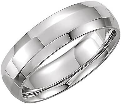 Platinum 6mm Comfort Fit Beveled Edge Band Size 8, Ring Size 8