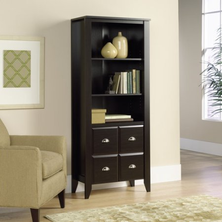 Sauder Shoal Creek Adjustable 3-Shelf Library Bookcase with Doors, Espresso Finish