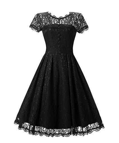 XIU*RONG Vestido De Encaje Y Cuello Redondo black