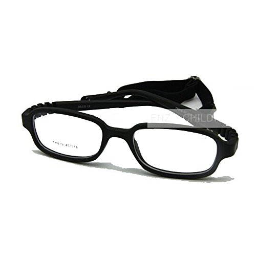 - EnzoDate Size 45 Boys Girls Optical Glasses Frame with Strap, Flexible One-Piece No Screw for Kids (Black)