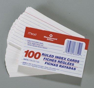 Mead Index Cards 3 In. X 5 In. Ruled 100 / Pack