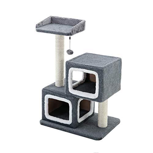 FTFDTMY Double Nest Cat Klettergerüst, kleine Sisal Column Jump Platform Kratzbaum Haushaltsspielzeug Cat Scratch Board…