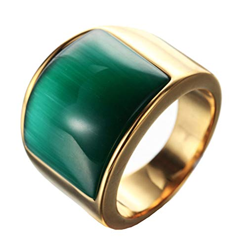 Beydodo Titanium Rings Men Stainless Steel Size 10 Polished Gold Ring with Green Cat Eye Stone Gold