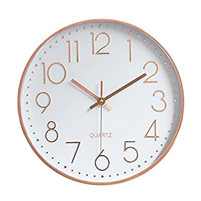 Foxtop Modern Wall Clock, Silent Non-Ticking Quartz Decorative Battery Operated Wall Clock for Living Room Home Office School w Rose Gold Plastic Frame Glass Cover (12 inch, Arabic Numeral) - Silent Non-ticking Wall Clock: Precise Quartz Sweep Movement guarantees accurate time and absolutely silent environment. Elegant Design: Rose gold color frame makes it the perfect decorative wall clock for office, living room, classroom, bedroom, bathroom. Unlike other using cardboard as clock background that easy damaged in moisture and wet season, this clock back base are made of solid plastic, therefore remain well function and dry in any weather condition. Easy to Read: Silent wall clock with large numbers are clear to read, front glass cover guarantees perfect view and keeps dust away from dial. - wall-clocks, living-room-decor, living-room - 41 0dJtoFQL. SS400  -