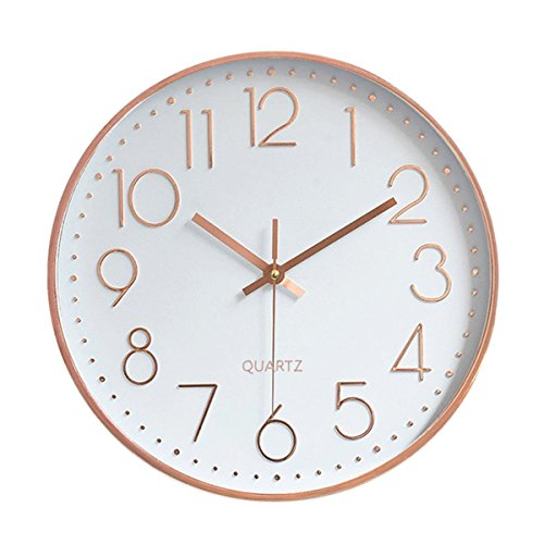 (Foxtop Modern Wall Clock, Silent Non-Ticking Quartz Decorative Battery Operated Wall Clock for Living Room Home Office School w Rose Gold Plastic Frame Glass Cover (12 inch, Arabic Numeral))