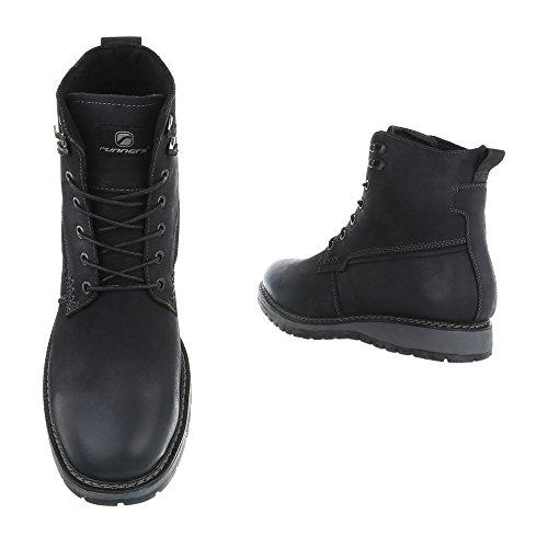 Schuhcity24 Herren Schuhe Boots Used Optik Leder Schnürer Schwarz